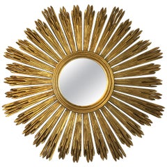 Glitzy Italian Giltwood Sunburst Mirror