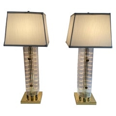 Glitzy Pair of Mid-Century Modern Brass and Acrylic Table Lamps