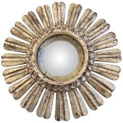 Glitzy Small Silver Carved Giltwood Sunburst Mirror