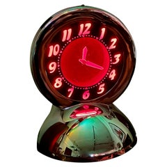 Glo Dial Neon Chrome Desk Clock with Ruby Red Neon