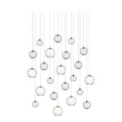 Globe 22, Blown Glass Pendant Dining Room Chandelier by Shakuff