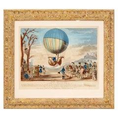 """""""Globe Aerostatique"""" a Hand-Colored Engraving, after Claude Louis Desrais"""
