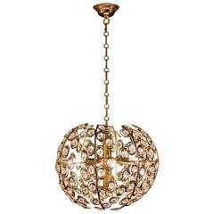Globe and Diamond Crystal Midcentury Chandelier by Gaetano Sciolari, 1960