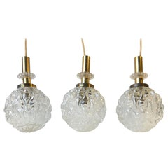 Globe Pendant Lights in Pressed Glass and Brass, Germany, 1960s, Set of 3