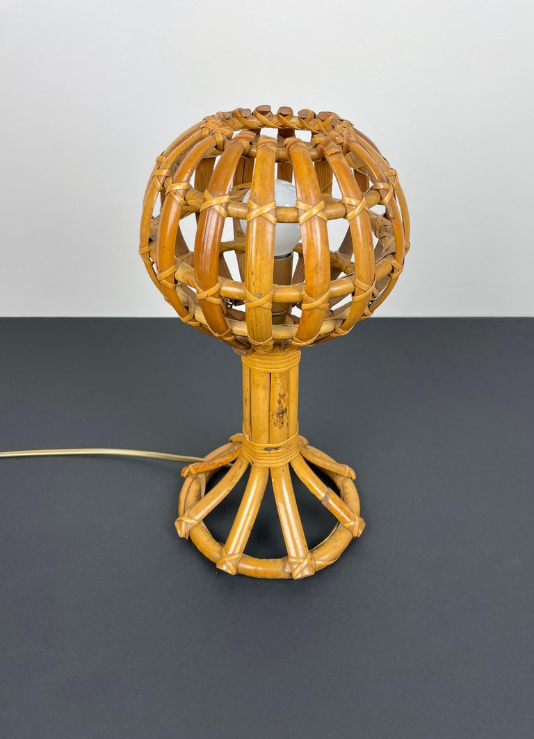 French Globe Rattan Table Lamp Louis Sognot Style, France, 1960s For Sale