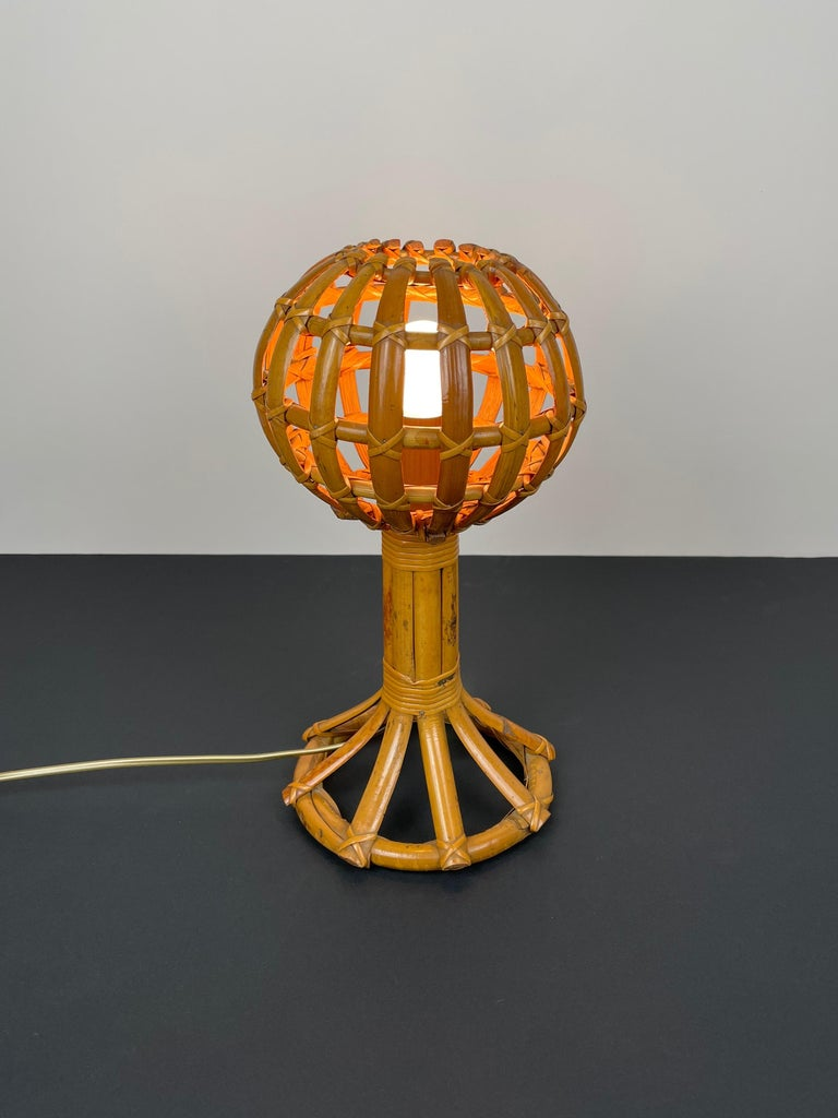 Mid-20th Century Globe Rattan Table Lamp Louis Sognot Style, France, 1960s For Sale