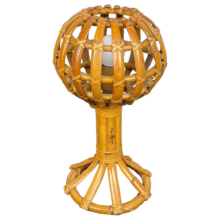 Globe Rattan Table Lamp Louis Sognot Style, France, 1960s For Sale