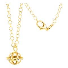 Globe Shape Diamond Charm Silver Pendant Necklace Yellow Gold-Plated