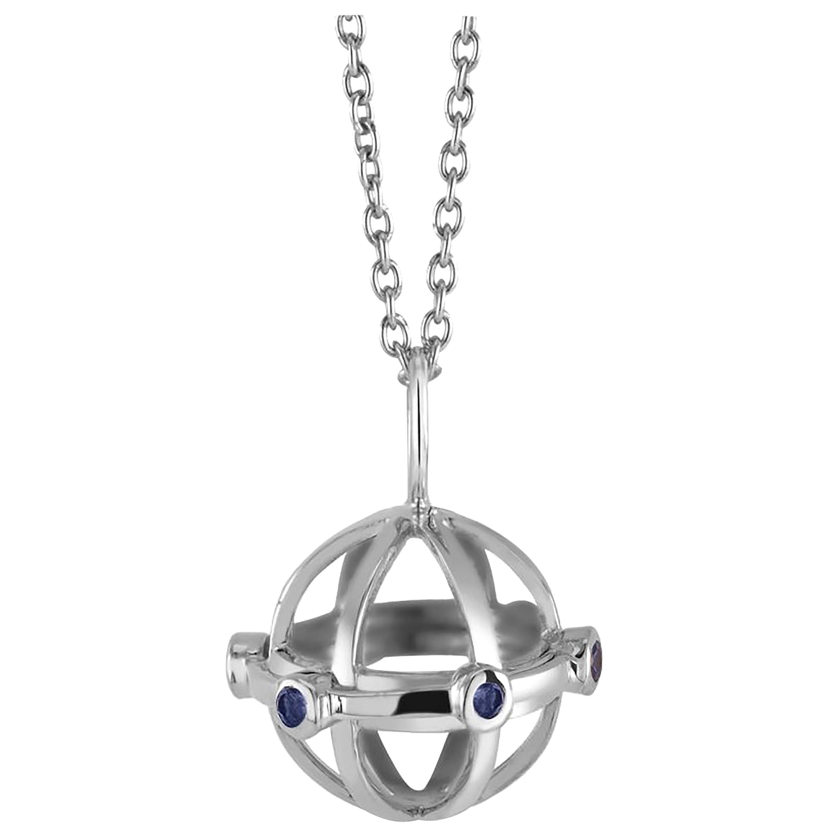 Globe Shape Sapphire Charm Silver Pendant Necklace