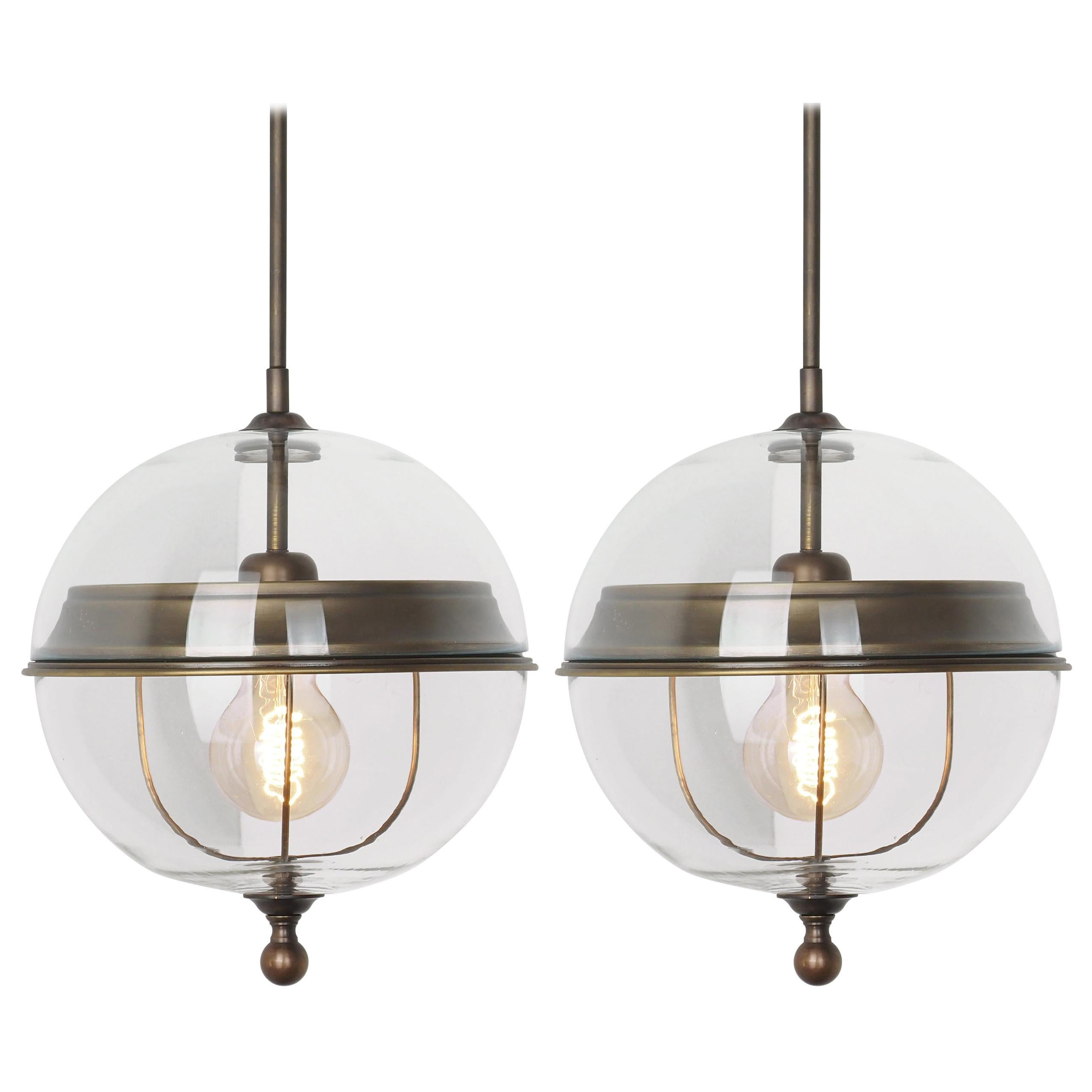 Globe Shaped Clear Glass Pair Pendant Lights, Italy, Contemporary