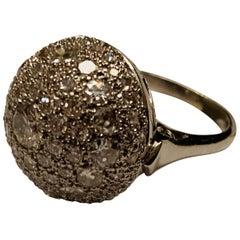Globe Shaped Vintage Platinum Diamond Ring