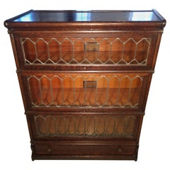 Globe Weinecke Leaded Glass 5 Section Barrister Bookcase