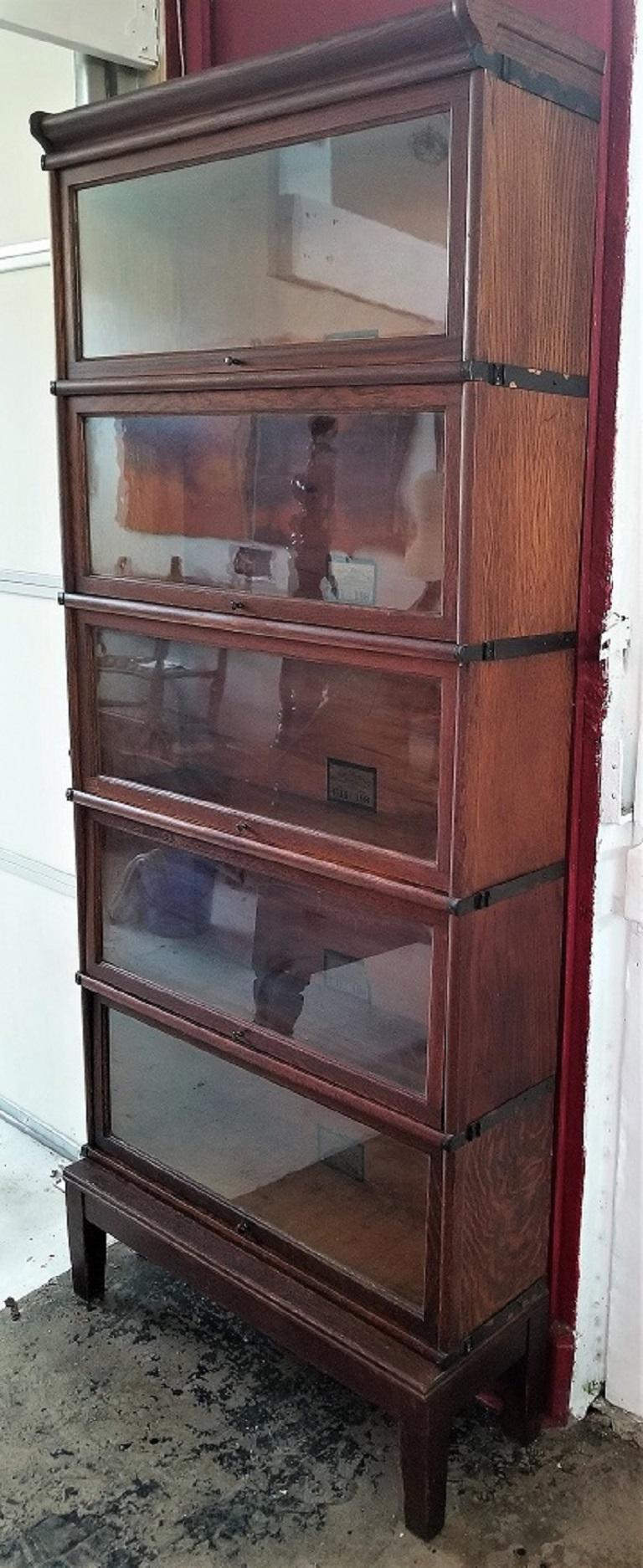 20th Century Globe Wernicke 5 Stack Barristers Bookcase For Sale