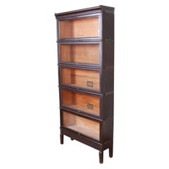 Globe-Wernicke Antique Five-Stack Dark Oak Barrister Bookcase, circa 1920s