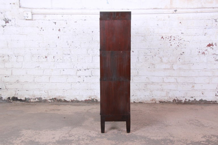 Early 20th Century Globe-Wernicke Antique Mahogany Three-Stack Barrister Bookcase For Sale