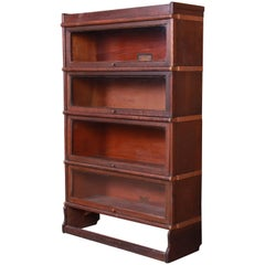 Globe Wernicke Antique Oak Four-Stack Barrister Bookcase, circa 1920s