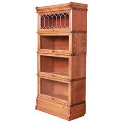 Globe Wernicke Four-Stack Barrister Bookcase with Leaded Glass, Circa 1900