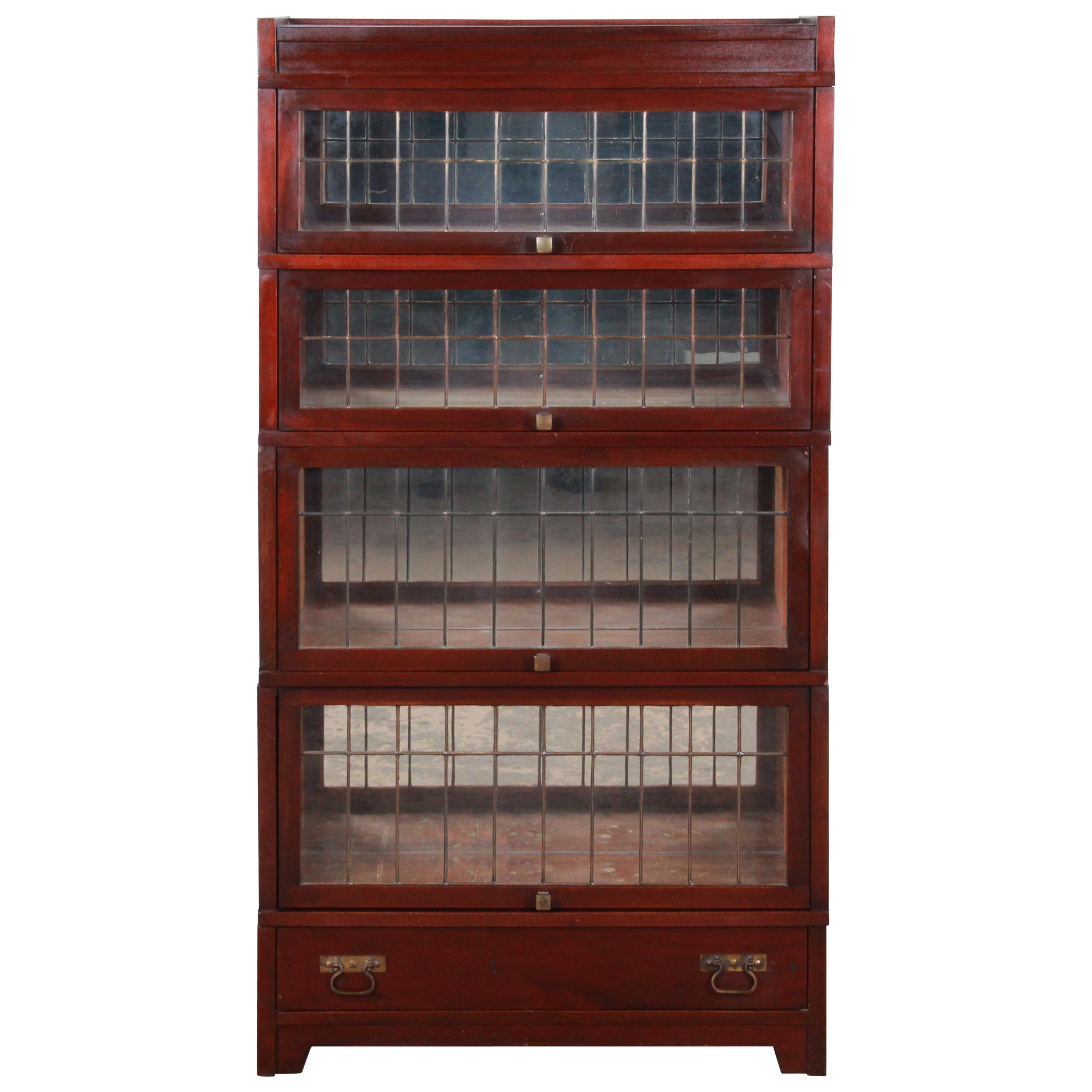 Globe Wernicke Four Stack Barrister Bookcase With Leaded Glass Doors Circa 1920