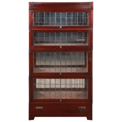Globe Wernicke Four-Stack Barrister Bookcase with Leaded Glass Doors, circa 1920