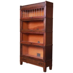 Globe Wernicke Four-Stack Oak Barrister Bookcase with Leaded Glass, circa 1920s