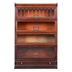 Globe-Wernicke Oak Four-Stack Barrister Bookcase with Leaded Glass Doors, 1920s