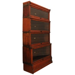 Globe Wernicke Sectional Oak Bookcase, 4-Tiered with Glazed Pull Down Fronts