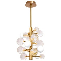 Globo Clear Lucite and Brass Five-Light Chandelier