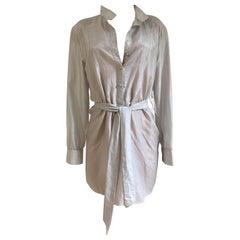 Glodwash over gray silk gossamer tunic shirt dress - NWT