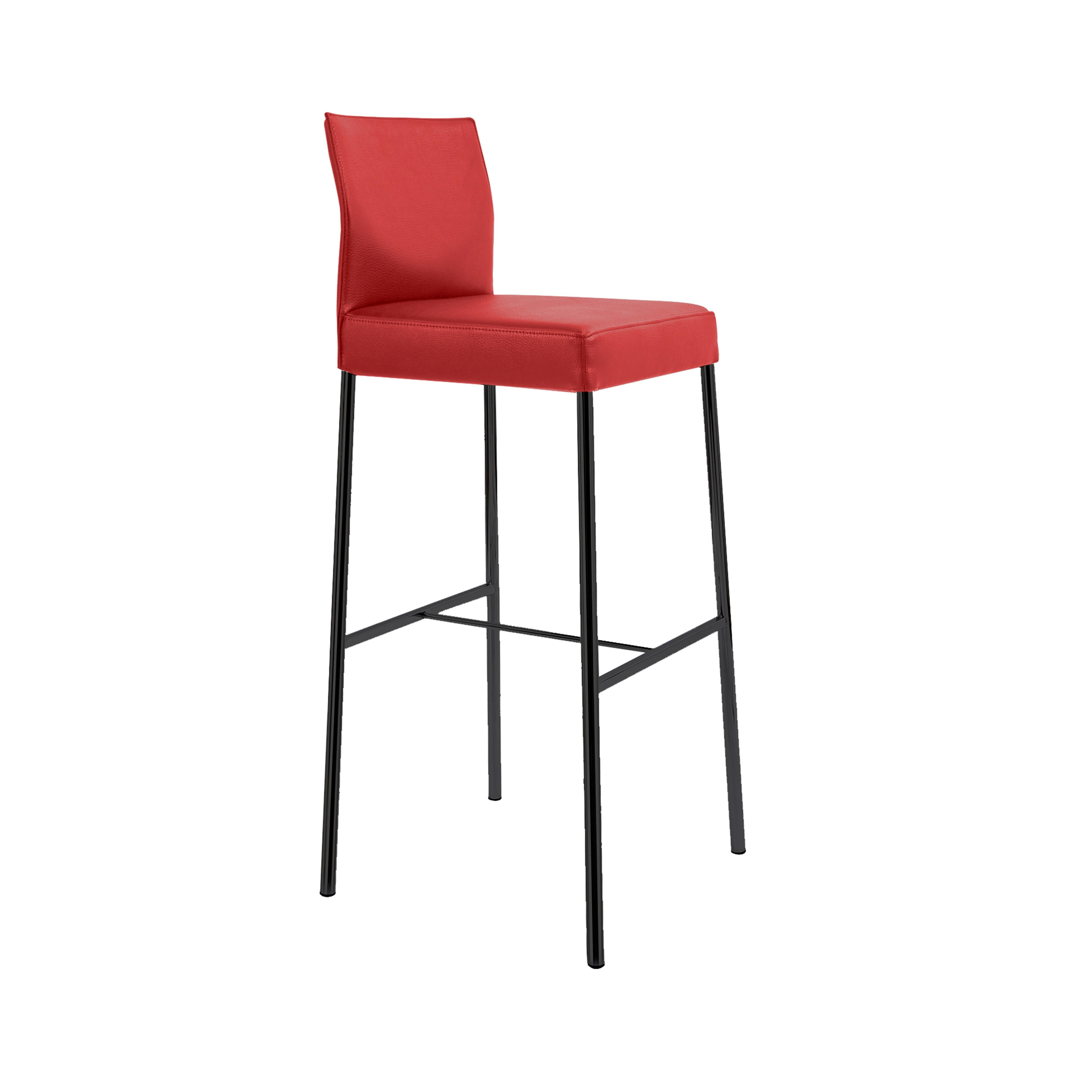 GLOOH Bar Stool in Red Leather by KFF