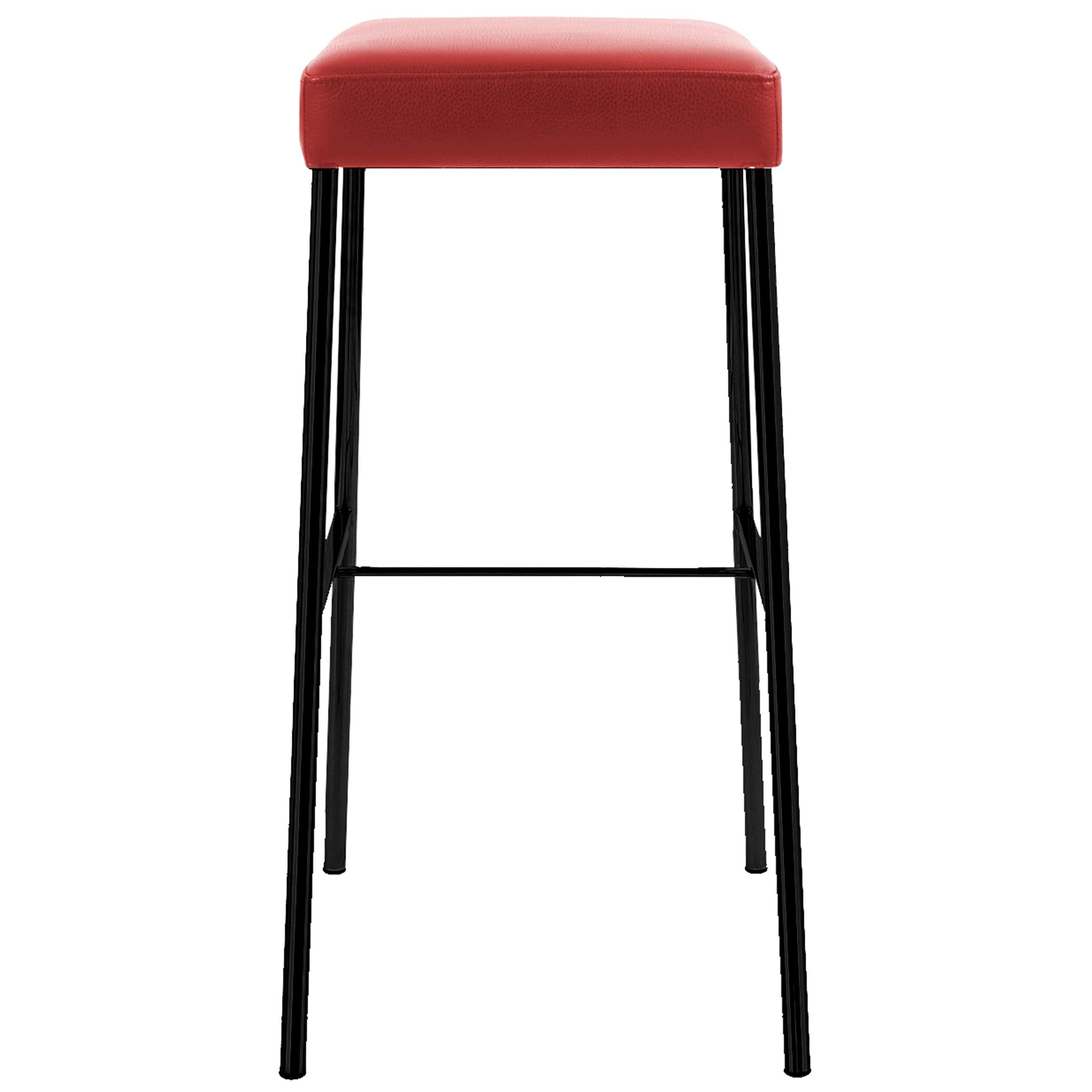 GLOOH Bar Stool without Backrest in Black Leather by KFF