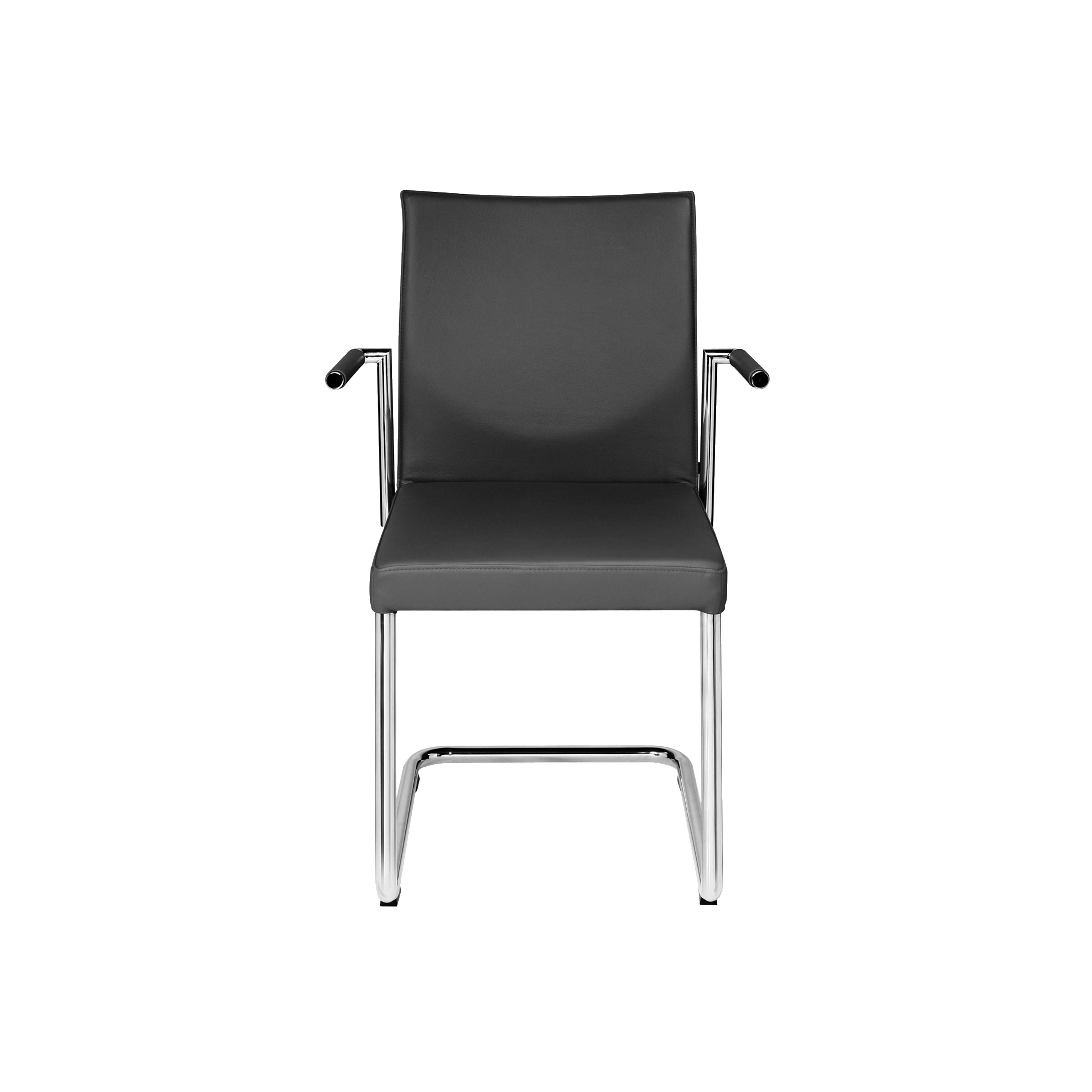 Glooh Cantilever Chair with Armrests in Black Leather by KFF