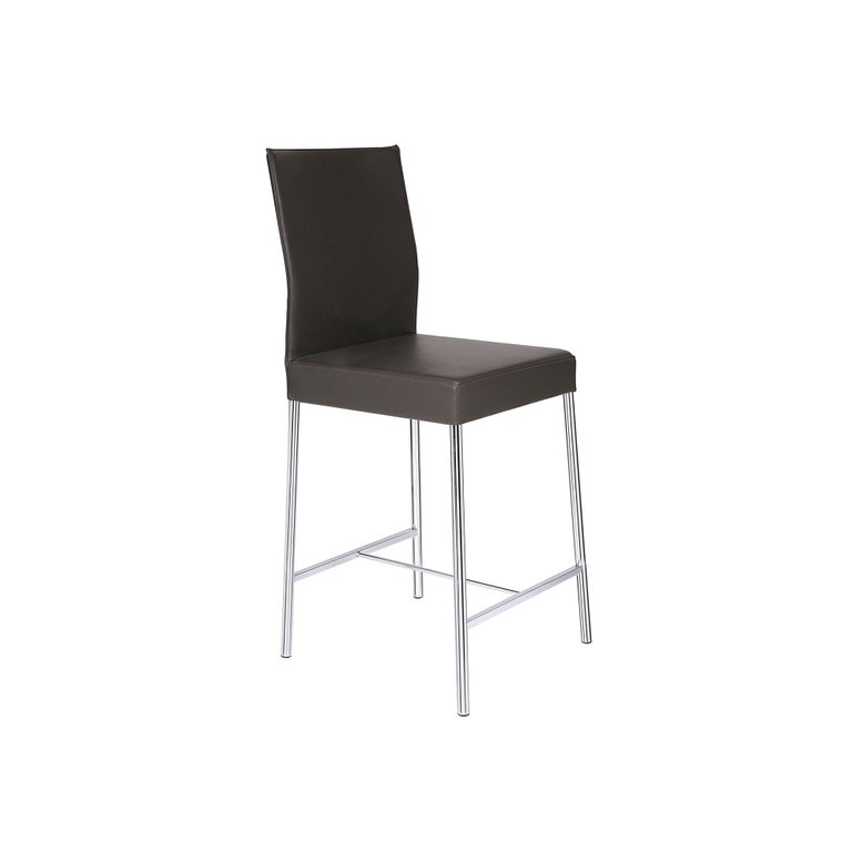 GLOOH Counter Stool in Brown Leather by KFF For Sale