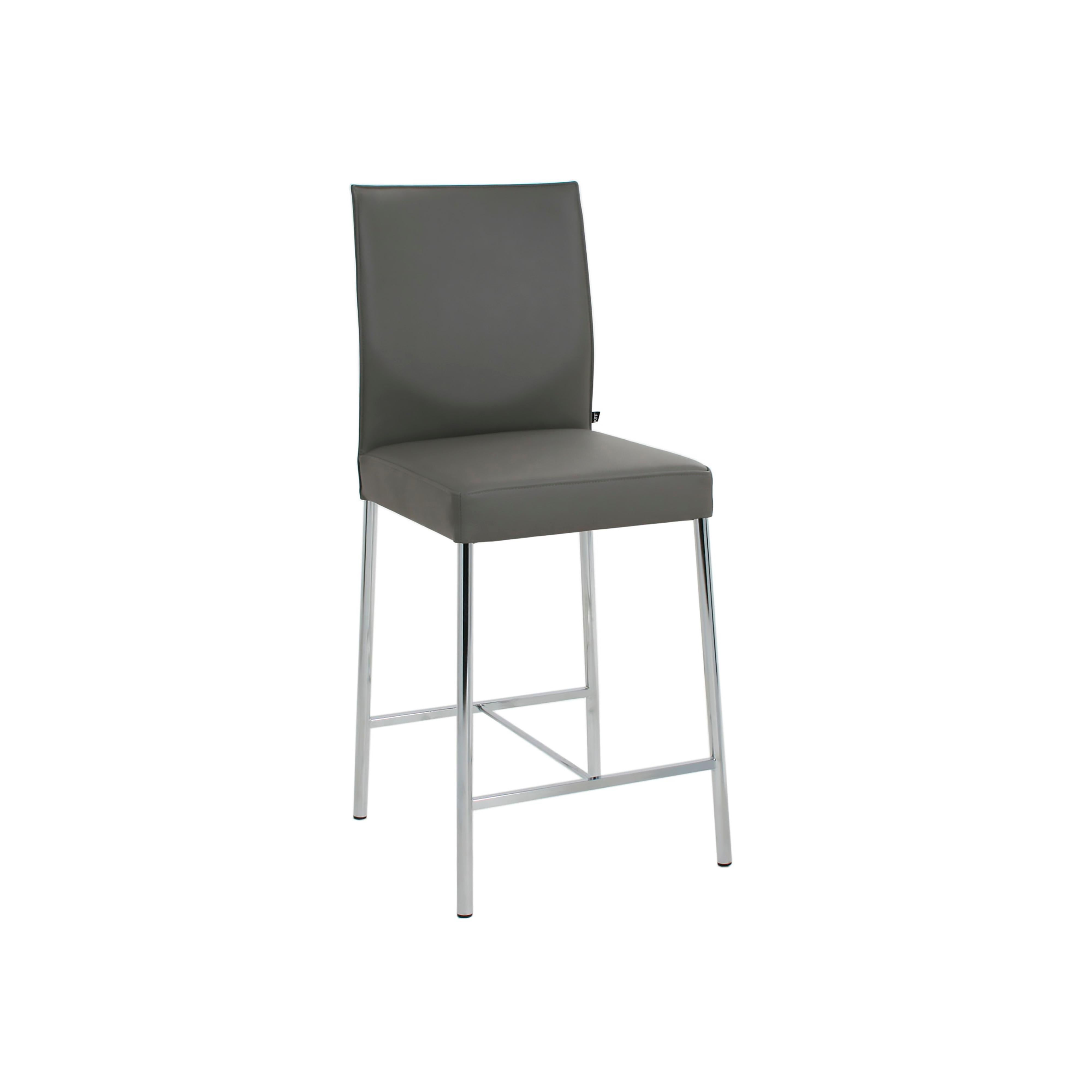 Glooh Counter Stool in Grey Leather by KFF