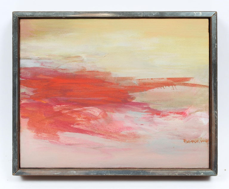 Antique American Signed Abstract Expressionist Female Modern Sunset Oil Painting - Beige Abstract Painting by Gloria Banning