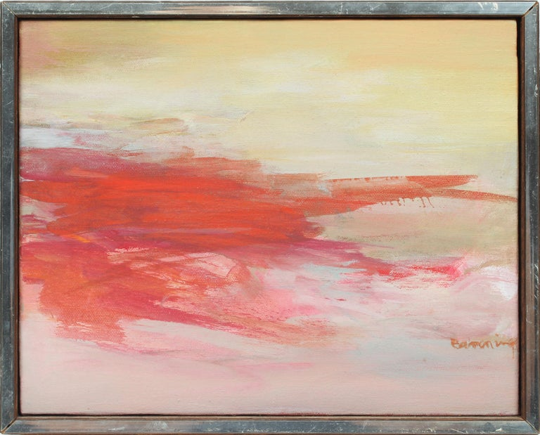 Gloria Banning Abstract Painting - Antique American Signed Abstract Expressionist Female Modern Sunset Oil Painting
