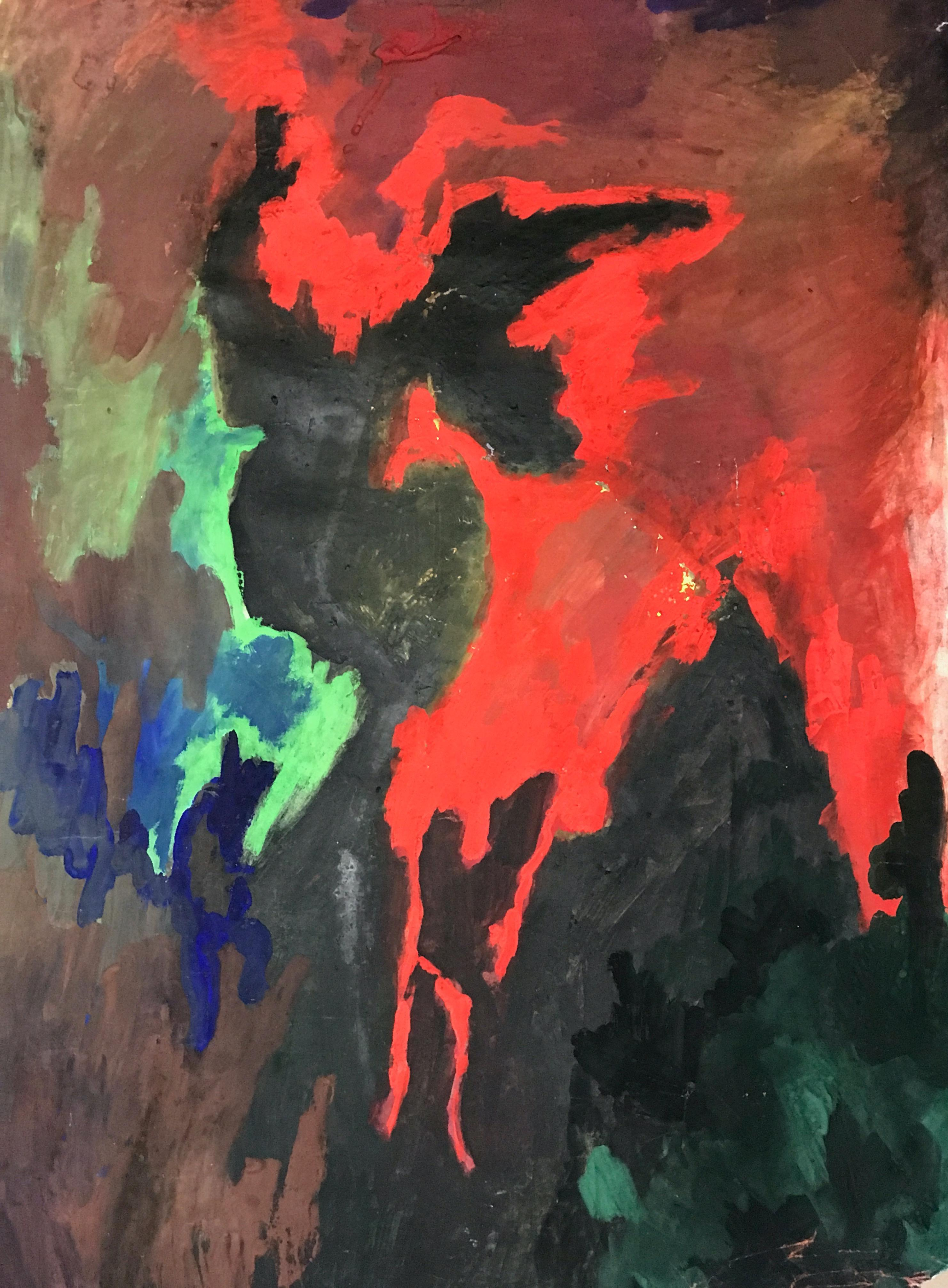"""1960s """"After Clyfford Still"""" Bay Area Artist Acrylic Painting on Paper"""