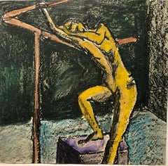 """1960s """"Hanging on a Bar"""" Gouache and Pastel Mid Century Female Nude Painting"""
