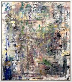 "Gloria Saez, ""Flores en el jardin"" Abstract Oil Painting"
