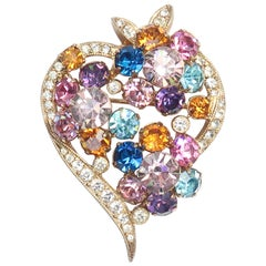 Glorious 1950's Eisenberg Rhinestone Heart Shaped Brooch