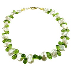 Glorious Baroque Pearl and Peridot Choker Necklace