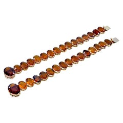 Glorious Gold and Madeira Citrine Pair of Bracelets or Choker
