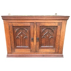 Glorious Looking Antique Handcrafted Oak Gothic Revival Hanging Wall Cabinet