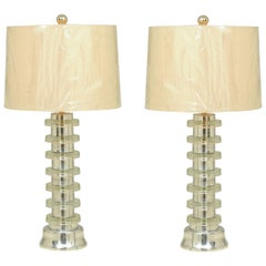Glorious Restored Pair of Art Deco Lamps in Spun Aluminum and Glass, circa 1940