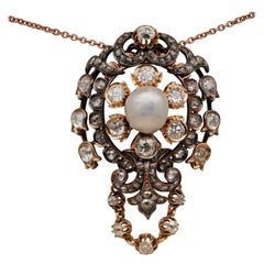 Glorious Victorian Natural Pearl 4.90 Carat Diamond Rare Royalty Pendant