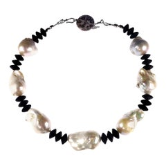 Glorious White Baroque Pearls with Matte Onyx Black Rondelles Necklace