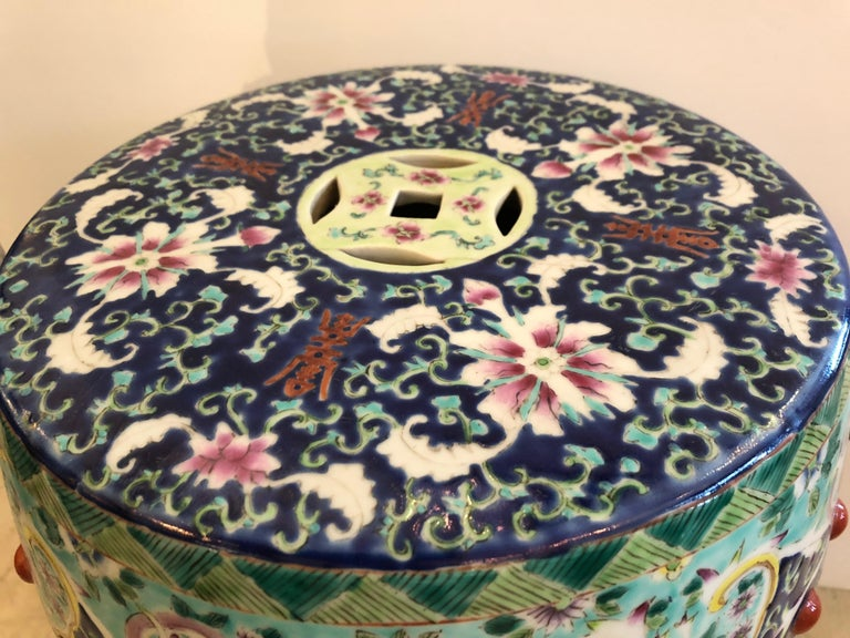 Chinese Export Gloriously Decorative Chinese Garden Seat Occasional Side Drinks Table For Sale