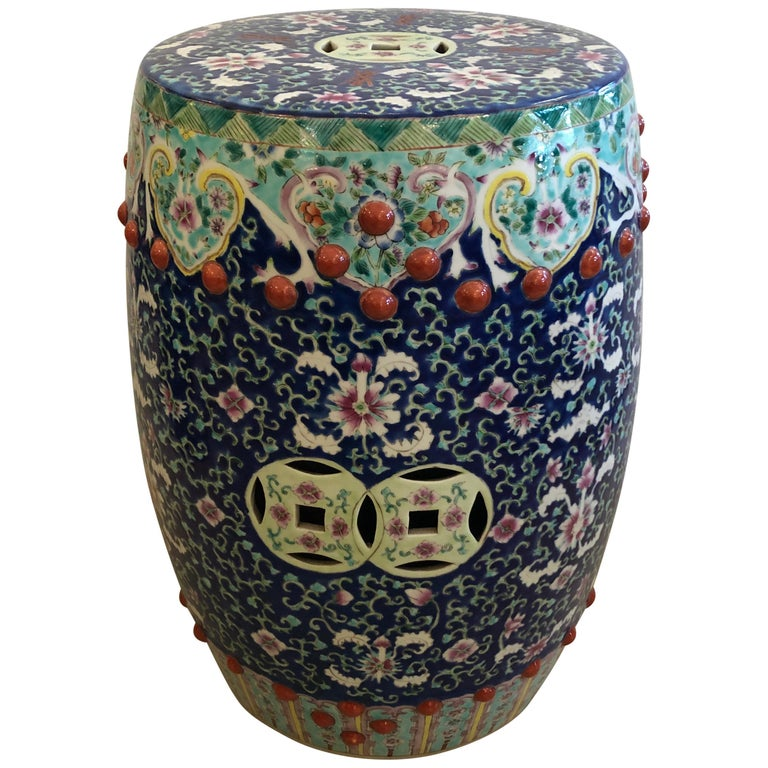 Gloriously Decorative Chinese Garden Seat Occasional Side Drinks Table For Sale