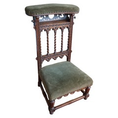 Gloriously Hand Carved & Great Condition Antique Gothic Revival Pray Chair 1800s