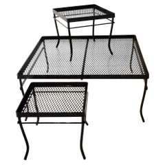 Gloss Black Square Woodard Coffee Table with Two Smaller Nesting Tables