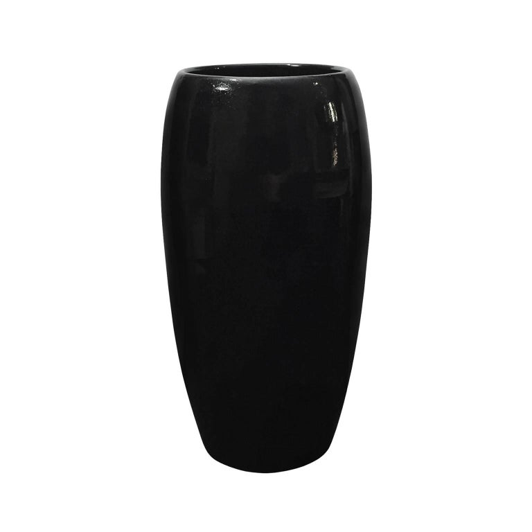 Gloss Black Wide Mouth Ceramic Column Vase by Sandi Fellman